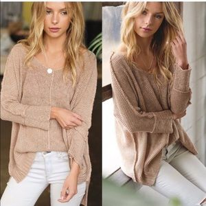V Neck slouchy high low sweater